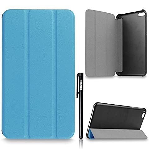 For Huawei MediaPad T1 7.0 701U Cover, BtDuck Simple And Luxurious Leather Case Business Style Shell Gray lining Flip Folio Book Style Version with Built-in Stand Holder and Front / Back Protection Ultra Slim Lightweight Case Stable Triangular Structure ( Color : Blue