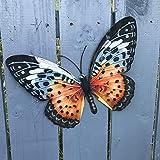 Primus Schmetterling aus Metall, groß, ideal als Wanddekoration für den Garten oder Ihr Zuhause, Orange und Schwarz