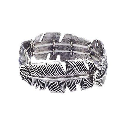 LUX Zubehör brüniert Silber Boho Casted Blatt Blätter Stretch Armband (Jones Aus Jersey-stretch)