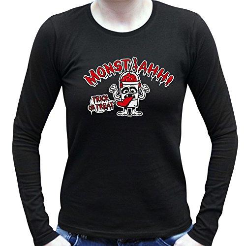 Monstaahhh ::: Lustiges Halloween-Kostüm-Langarm-T-Shirt für Damen und Mädchen Party-Outfit-Bekleidung Farbe: schwarz Schwarz