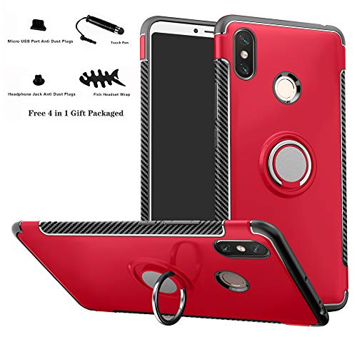 Labanema Xiaomi MAX 3 Funda, 360 Rotating Ring Grip Stand Holder Capa TPU + PC Shockproof Anti-rasguños teléfono Caso protección Cáscara Cover para Xiaomi Mi MAX 3 - Rojo