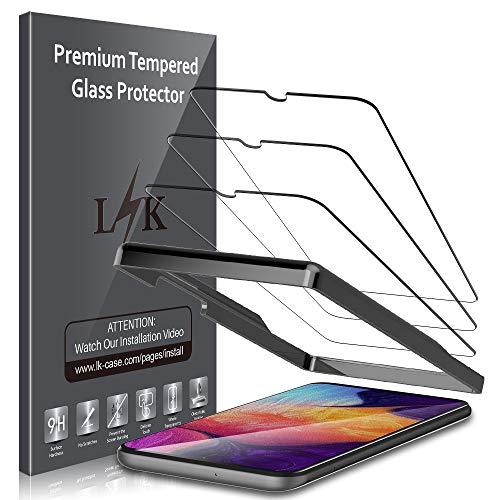LK [3 Stück] Schutzfolie für Samsung Galaxy A50 Panzerglas, [Führungsrahmen] Samsung Galaxy A50 Displayschutzfolie, [Bubble Free] HD Klar Glas Displayschutz [Lebenslanger Ersatz Garantie] -