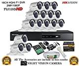 Hikvision CCTV 2MP DS-7216HQHI-F1 16CH DVR And DS-2CE16DOT-IR Bullet Camera 15pcs Security System at amazon