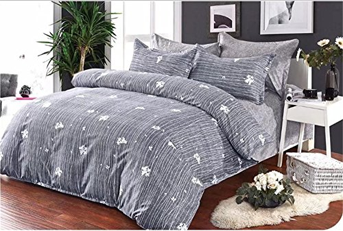 ntbed Floral und Bäume Home Textile Twin/Double/Full XL/Queen/King Größe Bettwäsche Bettbezug Sets, grau, Double(No filling)