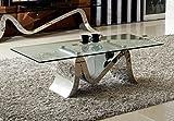 Couchtisch Wohnzimmertisch Luxus Martina 130 x 70 x 44 cm Glas Barock stil Tisch Chrom Edelstahl