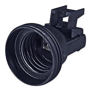 E27 Lampenfassung Kunststoff (PBT), Gewindefassung mit Halterung, Sockel mit 4,2 mm Schraubenloch Schwarz
