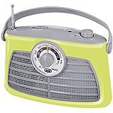 Trevi RA763V - Radio portable rétro AM-FM – Recherche de fréquences rotatif à aiguille – Alimentation secteur ou piles – Vert