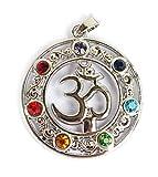 Colgante/Amuleto 7Chakra Om/AUM Plata–Meditación–Yoga–espiritualidad–Esoterik–Astrología–Geometría Sagrada–Reiki–Balancing
