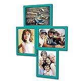 406 Fotogalerie für 4 Fotos 13x18 cm - 3D Optik - Bilderrahmen Bildergalerie Fotocollage Rahmenfarbe Türkisgrün