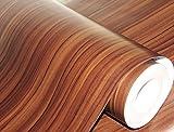 #9: CVANU® Self adhesive Wood Grain Wallpaper Waterproof Old Furniture Vinyl Stickers Wooden Door Wardrobe Desktop PVC Wall papers Cv256 12''x96''inch