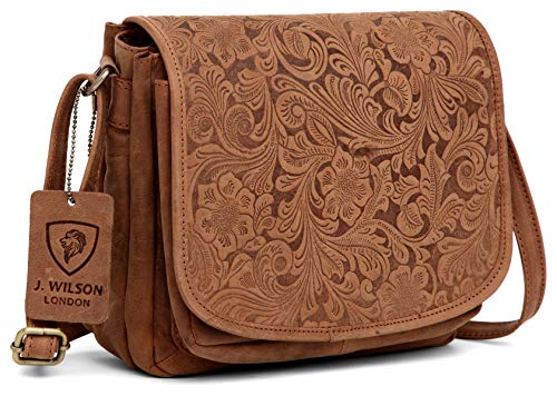 J. Wilson London, Damen Satchel-Tasche Distressed Tan Flower M - Distressed Satchel