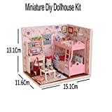 #8: Doll House - Dream Angels Theme Cute-room Wood Dollhouse Miniature Kit DIY Doll House Room With Furniture Cover Toy Artwork Gift By KARP - Pink Color