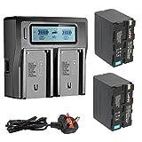 2x NP-F970 Batería + Dual Channel LCD Display cargador kit para Sony DCM-M1 MVC-CD1000 HDR-FX1 DCR-VX2100E DSR-PD190P NEX-FS700RH HXR-NX3 Camera as NP-F930 NP-F950 NP-F960