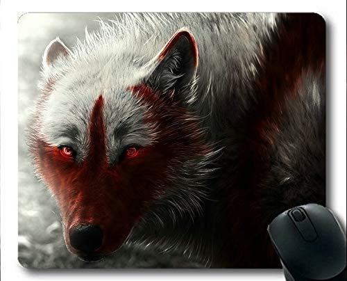 Yanteng Gaming-Mauspad, sitzend Schnee Tier Wolf Mauspads (Mehrfarbig).