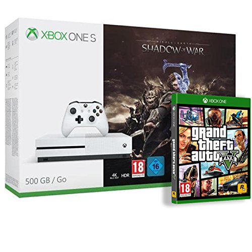Pack Console Xbox One S 500Go avec L'Ombre de la Guerre + GTA V