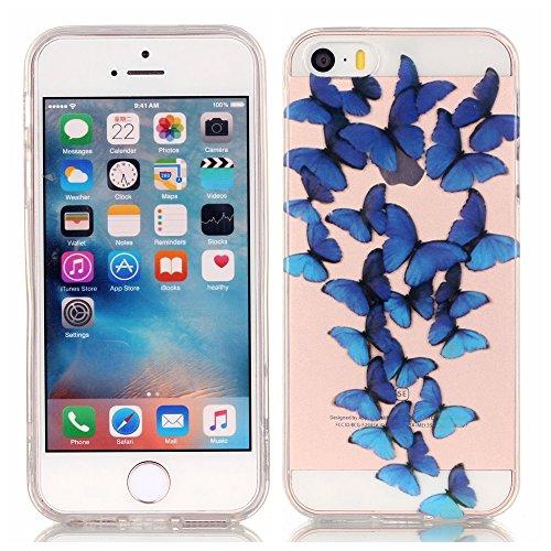 iphone 5s hülle silikon, LuckyW TPU Handyhülle für Apple iPhone 5/5S/SE Soft Silikon Tasche Transparent Schale Clear Klar Hanytasche Durchsichtig Rückschale Ultra Slim Thin Dünne Schutzhülle Weiche Fl Blau Schmetterling