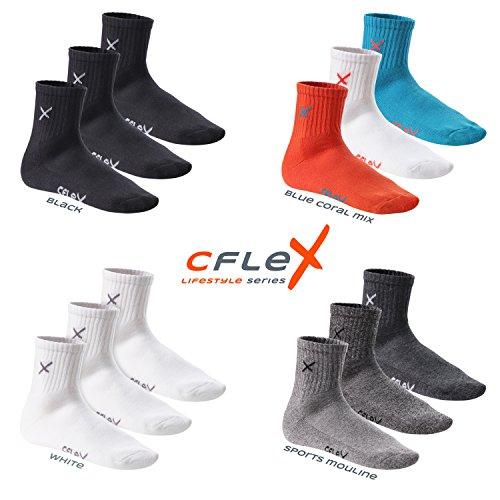 CFLEX LIFESTYLE - 6 paia di calzettoni corti da tennis unisex - calze sportive con suola in spugna Misto blu/corallo