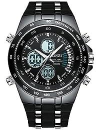 BINZI Hombre reloj de pulsera Relojes deportivos digital Reloj de cuarzo Reloj de lujo LED de doble pantalla con negro…