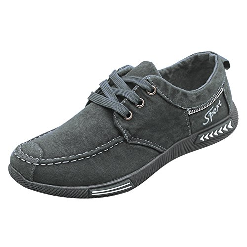 Hibote Herren Denim Schuhe Frühling Herbst Casual Atmungsaktiv Sneaker Mode Flach Low Top Schnür Canvas Schuhe Non Slip Casual Outdoor Schuhe (Canvas Schuhe Denim)