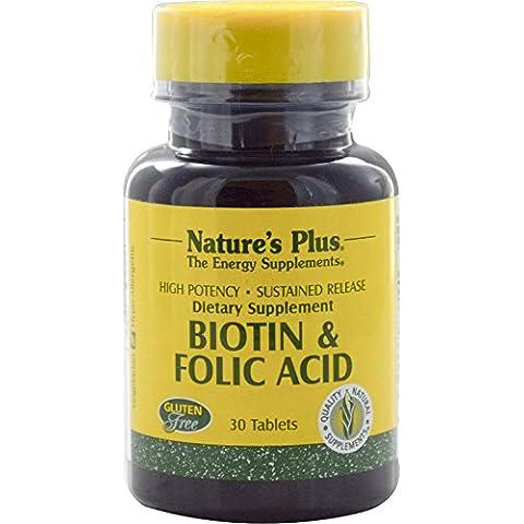 Biotina y ácido fólico, 30 Tabletas - Plus de la naturaleza