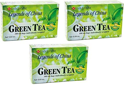 Uncle Lee's Tea Legends of China Green Tea, 100 Tea Bags (Pack of 3) -
