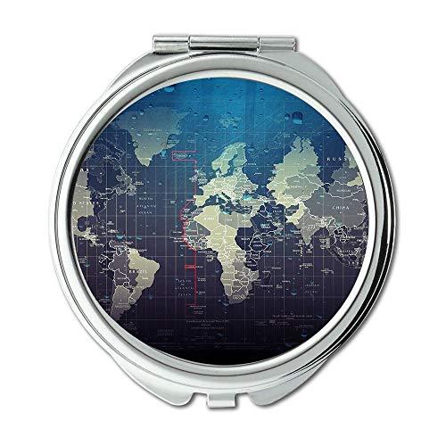 Yanteng Taschenspiegel, Kompakter Spiegel Rund Kompakter Spiegel Doppelseitig, WeltkarteWallet Spiegel für Männer/Frauen MT 003