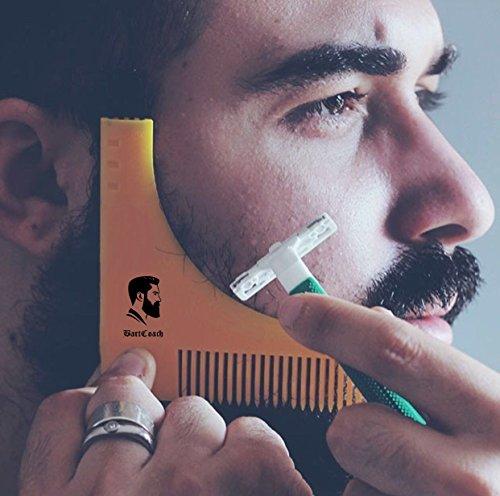 NUR KURZE ZEIT REDUZIERT BartCoach Bart-Schablone   Bart styling Tool   Bartkamm für deine Bartpflege   perfekte Rasur der Bartlinie   Rasierschablone   Premium (& Bart Schnurr)