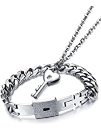 "Young & Forever Silver Plated ""Romantica Collection"" Engraved Lock And Key Bracelet Pendant Necklace Set For Boys, Girls, Men & Women"