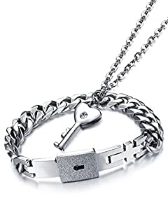 """Young & Forever Silver Plated """"Romantica Collection"""" Engraved Lock And Key Bracelet Pendant Necklace Set For Boys, Girls, Men & Women"""