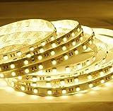 Minger Flexibel LED Streifen 5050 SMD 300 LEDs 5M/16.4ft LED Lichtband, Warmweiß, Nicht Wasserdicht IP20 LED Lichtleisten mit RF Dimmer Fernbedienung und 12V 5A Netzteil