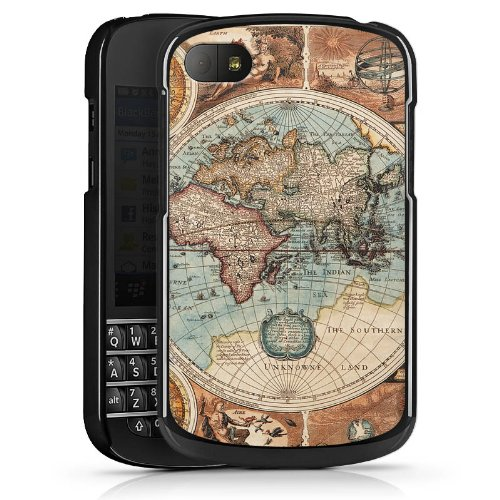 DeinDesign Blackberry Q10 Hülle Schutz Hard Case Cover Vintage Weltkarte Karte Map
