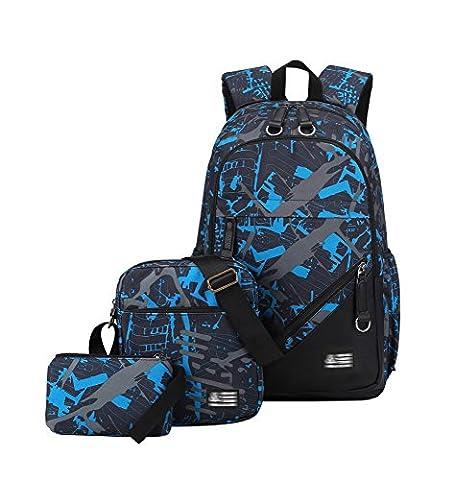 YoungSoul Schultasche Sets Jungs Mädchen - Canvas Schulrucksack + Schultertasche + Mäppchen - Schule Rucksack für Jugendliche Blau Grau(Set)