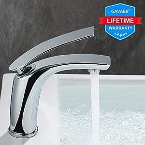 GAVAER Wasserhahn Bad, Einzigartige Form Waschtischarmatur mit Lange Einzelgriff (Warm und kalt einstellbar), Premium-Qualität Keramikventil, Massivem Messing, Verchromung Prozess.