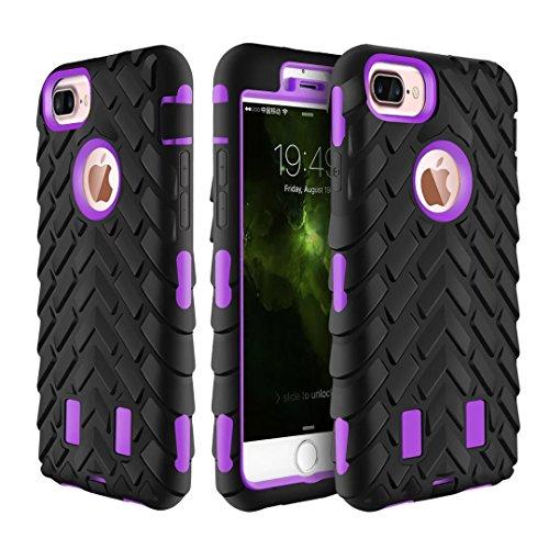 iPhone 7 Plus Coque, Lantier Motif Tire 2 en 1 Combo Heavy Duty antichoc Anti Drop robuste à double couche de couverture de protection hybride pour iPhone 7 Plus (5,5 pouces) vert Tire Pattern Purple