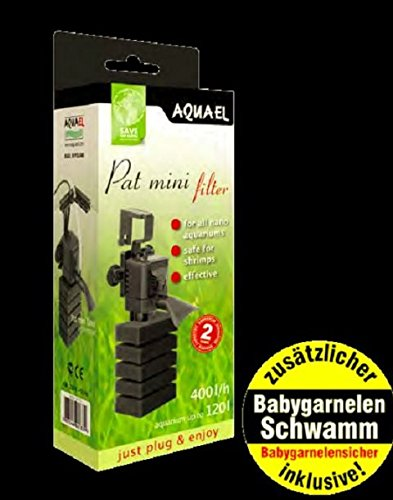 Aquael PAT Mini Filter mit zusätzlicher Babygarnelen sicheren Schwammpatrone