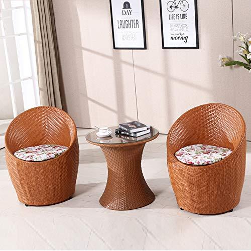 seeksungm Chair, Coffee Table, Home Handmade PE rotin Woven rotin Table And Chair, Eco-Friendly Breathable 3 Piece Set, Home Office Balcony Leisure rotin Table And Chair jaune