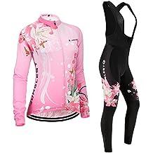 (Cojín 3D)(traje(Forro polar & strap negro) tamaño:XL) mujer ropa chaleco transpirable Moda larga ciclismo los para manga sudo de rendimiento maillot rompevientos Jerseys