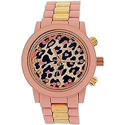 Softech Ladies Leopard Dial Pink Rubberised Metal Bracelet Strap Watch B396