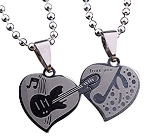 Collier, Pendentif coeur à séparer guitare et clé de sol pour couple + chaines.