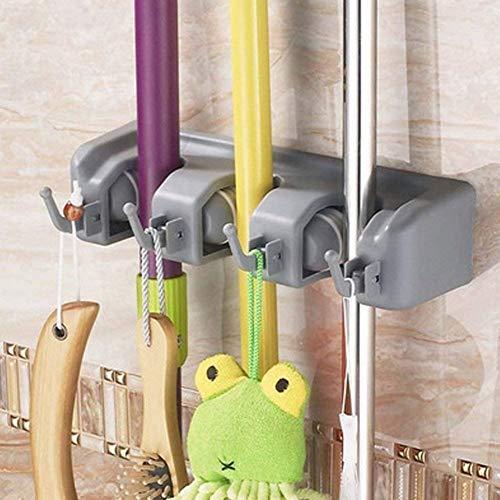 RIXOW Gerätehalter Wandhalterung, Ordnungsleiste Wandhalter mit 3 Haken und 4 Schnellspannern für Mop,Besen und Gartenwerkzeug u.s.w (small)