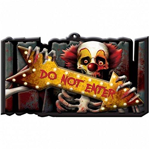 Letrero Halloween DO NOT ENTER 43 x 25 cm Cartel de aviso NO ENTRAR Pancarta advertencia fiesta de Halloween Decoración de pared con mensaje Inscripción terrorífica noche de brujas Objeto de miedo para decorar