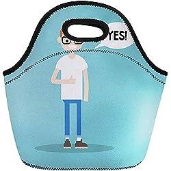 Fiambrera,Feedback Boy Thumbs Up Young Nerd Dice Sí Flat Neoprene Lunch Bag Lunchbox Tote Bag Portable Picnic Bag Cooler Bag