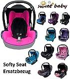 Sweet Baby ** SOFTY PROTECT CabrioFIX ** Kuschelig weicher und dick gepolsterter ERSATZBEZUG für Maxi Cosi CabrioFix ( Grau / Pink )