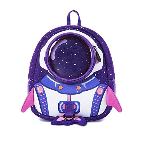 Kinderrucksacke KindergartenRucksack Schultaschen Sicherheit Anti-verlorene 3D Rocket Rucksack Mini Backpack für Jungen Mädchen (Lila)