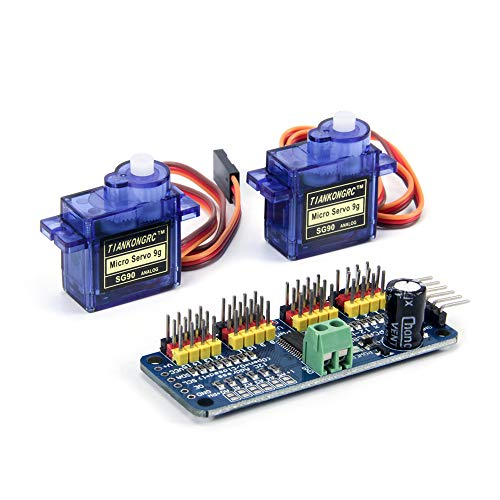 Jolicobo SG90 9g Mini Gear Micro Servo Motor with 16 Channel 12 Bit PWM  Servo Motor Driver IIC Interface PCA9685 Module Controller For Arduino  Robot