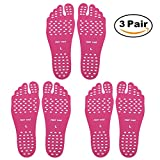 SEALEN Beach Foot Pads for Barefoot, Invisible Shoes Stick on Soles, Men Women and Kids Foot Stickers with Anti-Slip and Waterproof for Exercise Beach Pool Yoga 3 Pairs (Pink, L)