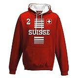 sweat shirt a capuche Bicolore National sportif Suisse Switzerland 2 Football Sport Europe Bandiera 1 M