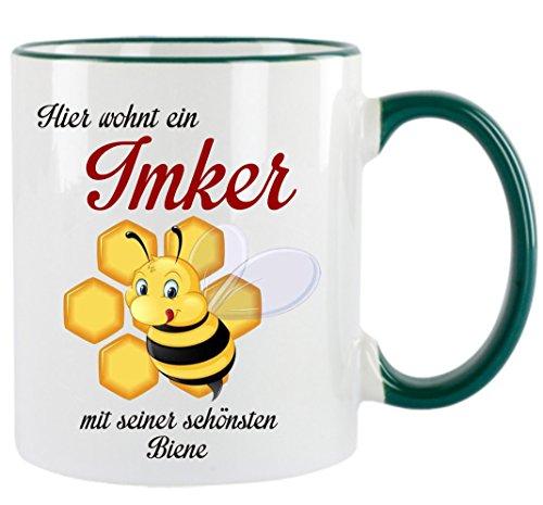 ' Hier wohnt ein Imker mit seiner schönsten Biene ' Kaffeetasse mit Motiv, bedruckte Tasse mit...
