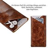 Kodak Ektra - Smartphone Sleeve Etui Schutzhülle Tasche mit Kreditkartenfächer - Pu leder Braun Etui 2