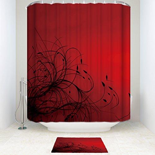 SUN-Shine Rot Schwarz Tapete Abstrakt Badezimmer Dusche Vorhang-Sets mit Mats Teppiche und Zubehör